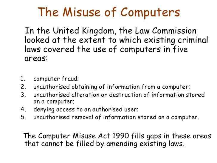 Locations Of Abuse Of Computers As Well As The Web - Computer System Abuse Act -