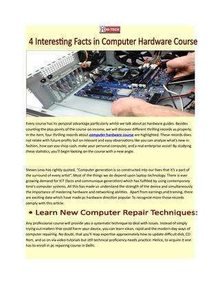Hardware Training Course - The Advantages of Taking It -