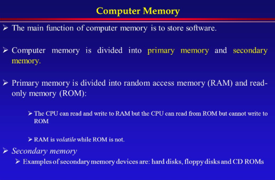 The Key Features of Computer System Memory -
